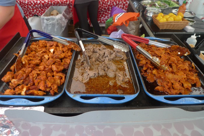 From right to left: spicy pork belly, bulgogi beef, and buldak chicken